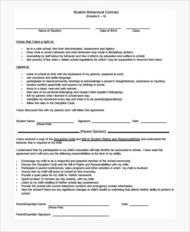 behavioral contract template - Minimfagency