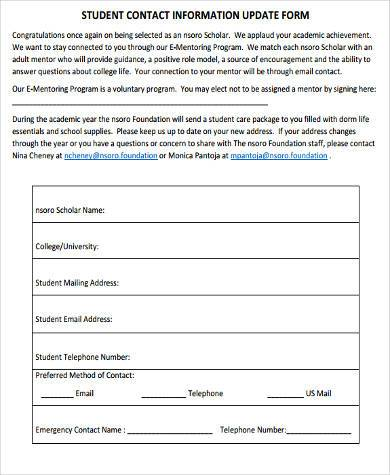 Sample Student Contact Forms - 9+ Free Documents in Word, PDF - contact information form