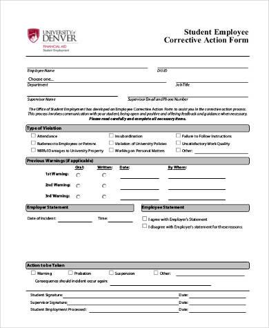 corrective action form - Pinarkubkireklamowe