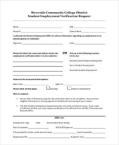 Sample Employment Verification Request Forms - 8+ Free Documents in - employment verification form