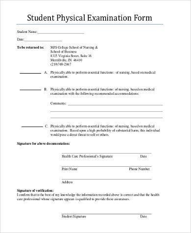 standard physical exam form hgvi