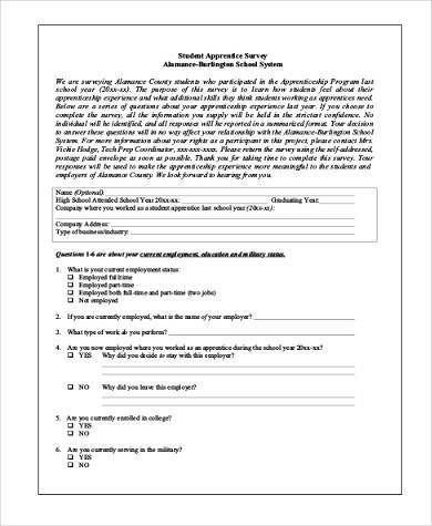 Sample Student Survey Forms   9+ Free Documents In PDF   Student Survey