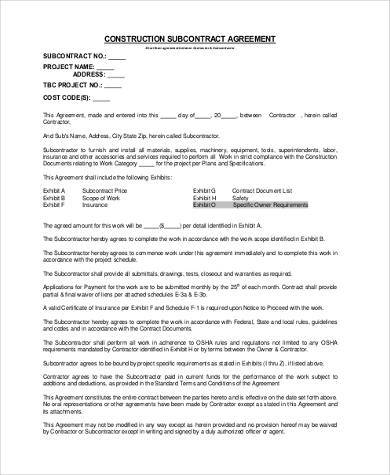 Sample Subcontractor Agreement Forms - 8+ Free Documents in Word, PDF - subcontractor agreement