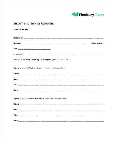 Sample Subcontractor Agreement Forms - 8+ Free Documents in Word, PDF - subcontractor agreement template