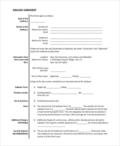 Sublease Agreement Form Sample - 9+ Free Documents in Word, PDF - Sample Sublease Agreement