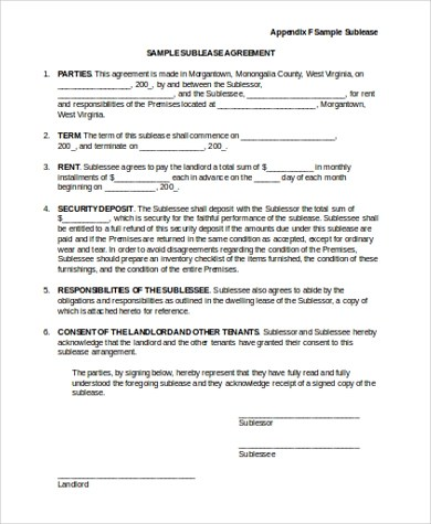 Sublease Contract Samples - 7+ Free Documents in Word, PDF - Sample Sublease Agreement
