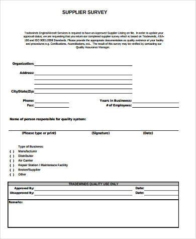 ... Sample Supplier Survey Forms   8+ Free Documents In Word, PDF   Example  Of ...