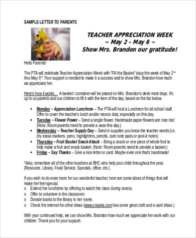 Teacher Appreciation Letters - 7+ Free Documents in Word, PDF - Teacher Letters To Parents