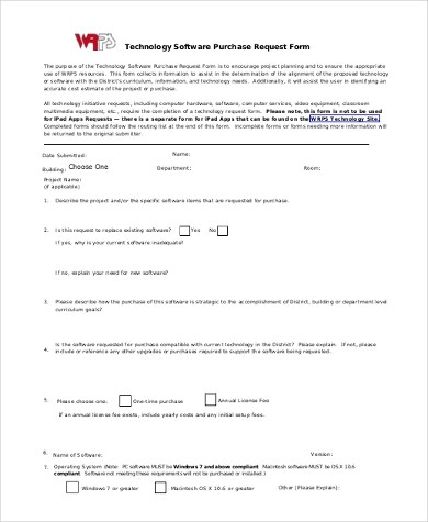 Sample Purchase Request Form - 10+ Free Documents in Word, PDF - software request form