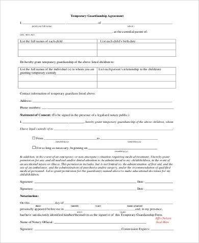 Sample Legal Guardian Forms - 7+ Free Documents in Word, PDF - temporary guardianship form