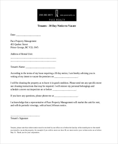 Notice To Vacate Template eviction notice forms california - notice to vacate template