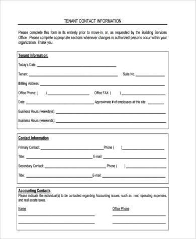 Sample Tenant Information Forms - 9+ Free Documents in Word, PDF - Tenant Information Form