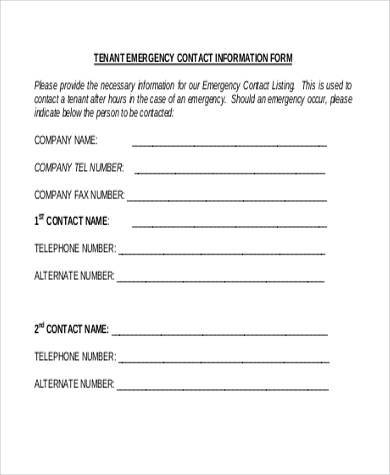 Sample Emergency Information Forms - 9+ Free Documents in PDF - contact information form