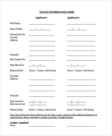 tenant information form - Peopledavidjoel
