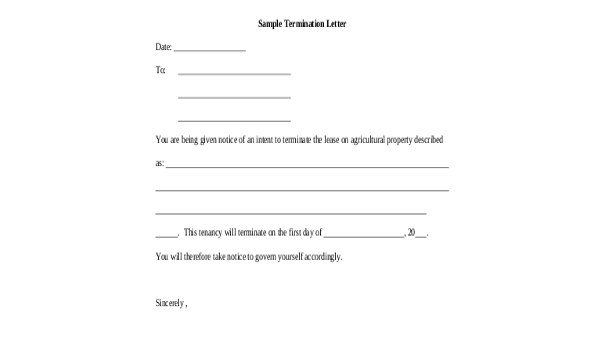 Termination Letter Sample - 7+ Free Documents in Word, PDF