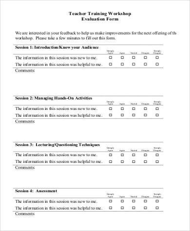Workshop Evaluation Form Sample - 9+ Free Documents in Word, PDF