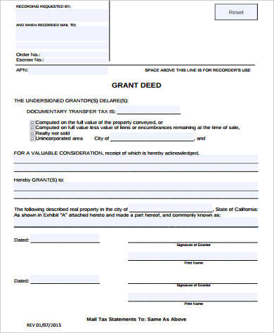 Grant Deed Form Samples - 8+ Free Documents in Word, PDF - grant deed form