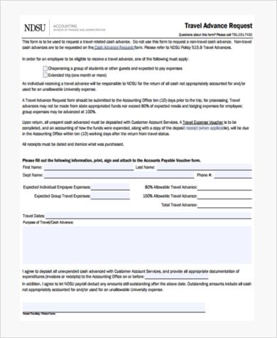 travel advance request form - Pinarkubkireklamowe
