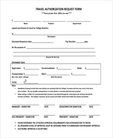 Travel Authorization Form Samples - 8+ Free Documents in Word, PDF - sample employment authorization form