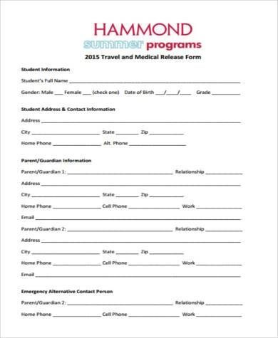 Sample Travel Medical Forms - 8+ Free Documents in Word, PDF - medical form in pdf