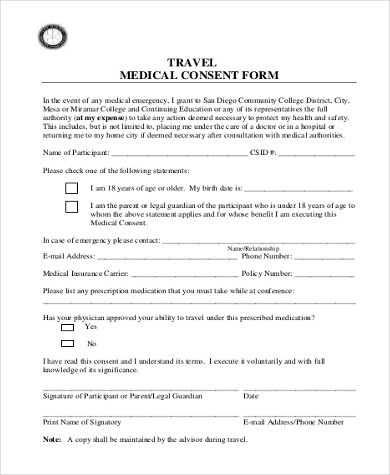Sample Travel Consent Form - 8+ Free Documents in PDF - one parent travel consent form