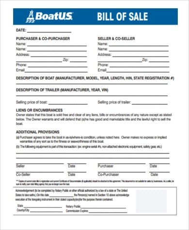 Sample Boat Bill of Sale Form - 6+ Free Documents in Word, PDF - boat bill of sale template
