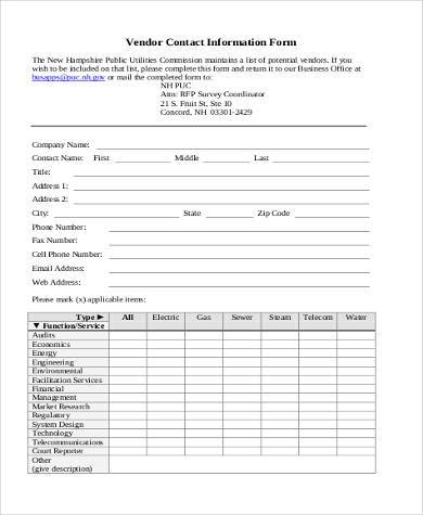 Sample Vendor Information Forms - 8+ Free Documents in PDF - contact information form