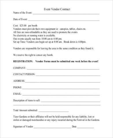 Contract Form Sample - 7+ Free Documents In Word, PDF - sample vendor contract
