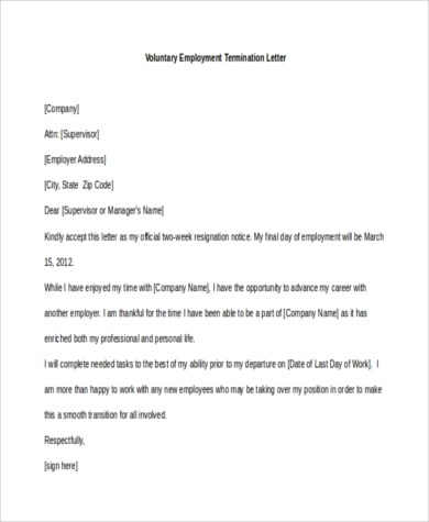 Employment Termination Sample Letters - 9+ Free Documents in Word, PDF - job termination letter