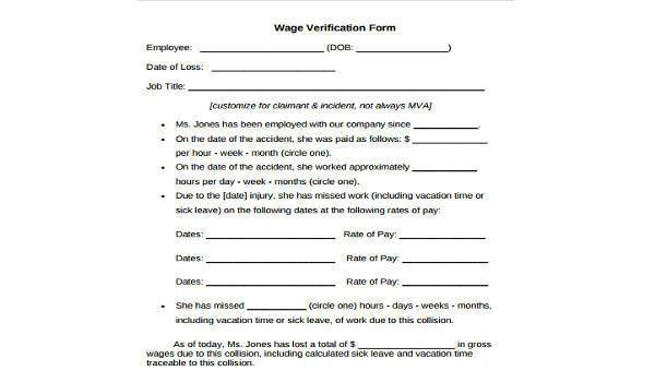 Wage Verification Form Samples - 9+ Free Documents in Word, PDF