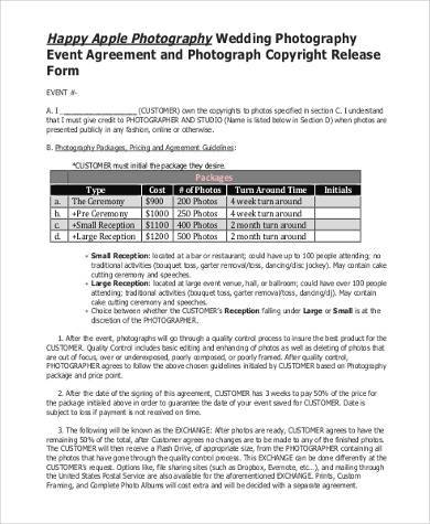 Photo Copyright Release Forms Sample Copyright Release Forms 7