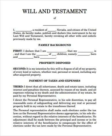 Last Will And Testament Form For Ohio  Last Will And Testament