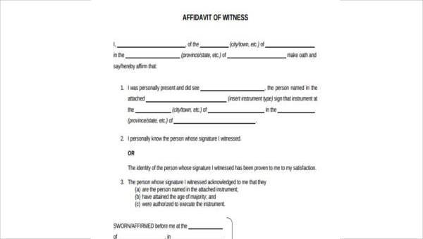 7+ Witness Affidavit Form Samples - Free Sample, Example Format Download