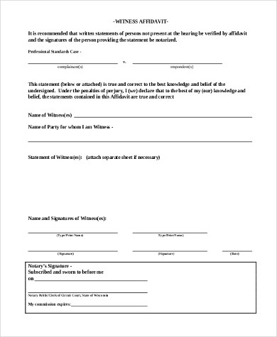 Witness Statement Form Samples - 9+ Free Documents in Word, PDF - affidavit statement of facts