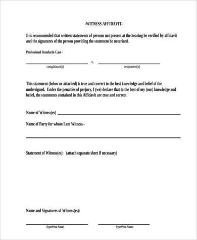 affidavit of witness form - Erkaljonathandedecker