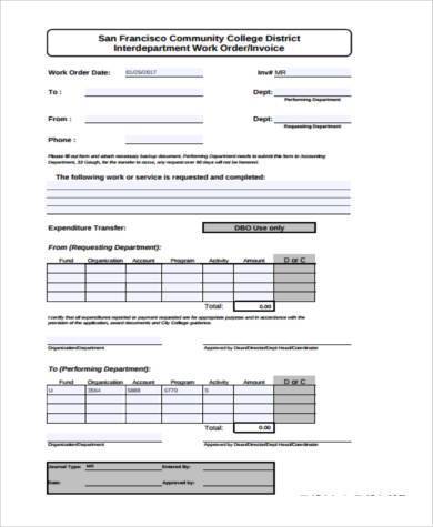 Sample Work Invoice Forms - 7+ Free Documents in Word, PDF
