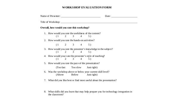 Workshop Evaluation Form Sample - 9+ Free Documents in Word, PDF