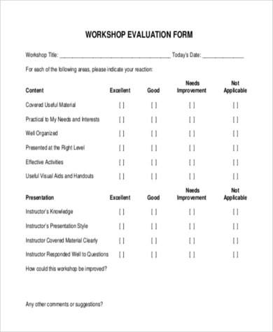 Evaluation Form Samples - 9+ Free Documents in Word, PDF - workshop evaluation forms