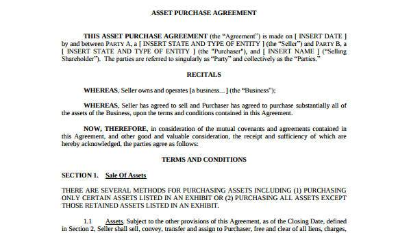 Sample Asset Agreement Forms -7+ Free Documents in Word, PDF
