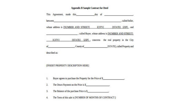 Sample Contract for Deed Forms - 8+ Free Documents in PDF