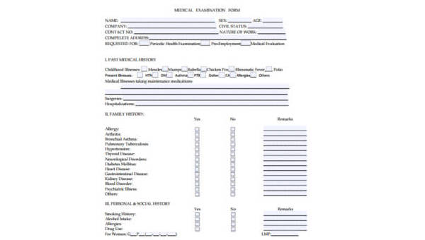 Sample Physical Exam Forms - 8+ Free Documents in PDF