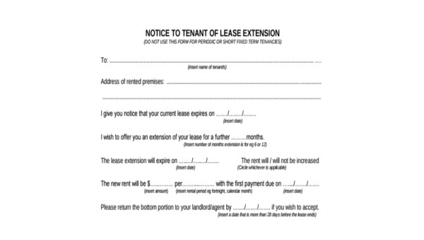 Sample Lease Extension Agreement Form - 9+ Free Documents in Word, PDF