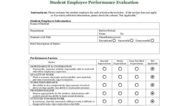 Job Performance Evaluation Form Samples - 9+ Free Documents in Word, PDF