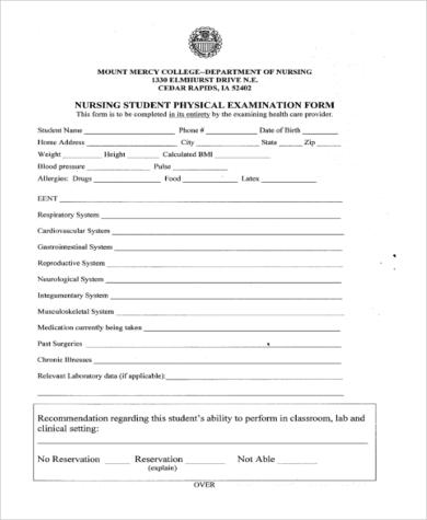standard physical examination form \u2013 bookhotels