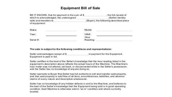 Equipment Bill of Sale Form Samples - 7+ Free Documents in Word, PDF