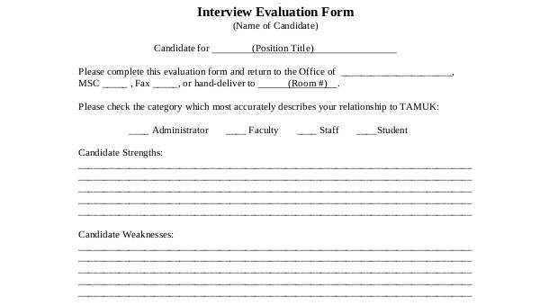 7+ Interview Evaluation Form Samples - Free Sample, Example ,Format