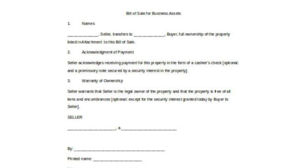Sample Business Bill of Sale Forms - 7+ Free Documents in Word, PDF