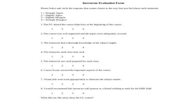 8+ Instructor Evaluation Form Samples - Free Sample, Example, Format