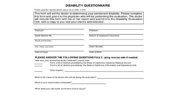 Sample Disability Questionnaire Forms - 8+ Free Documents in Word, PDF