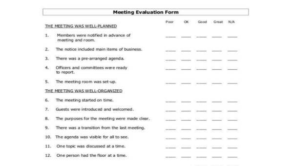 Sample Meeting Evaluation Forms - 8+ Free Documents in PDF
